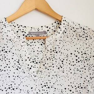 Daniel Rainn heart print black and white blouse